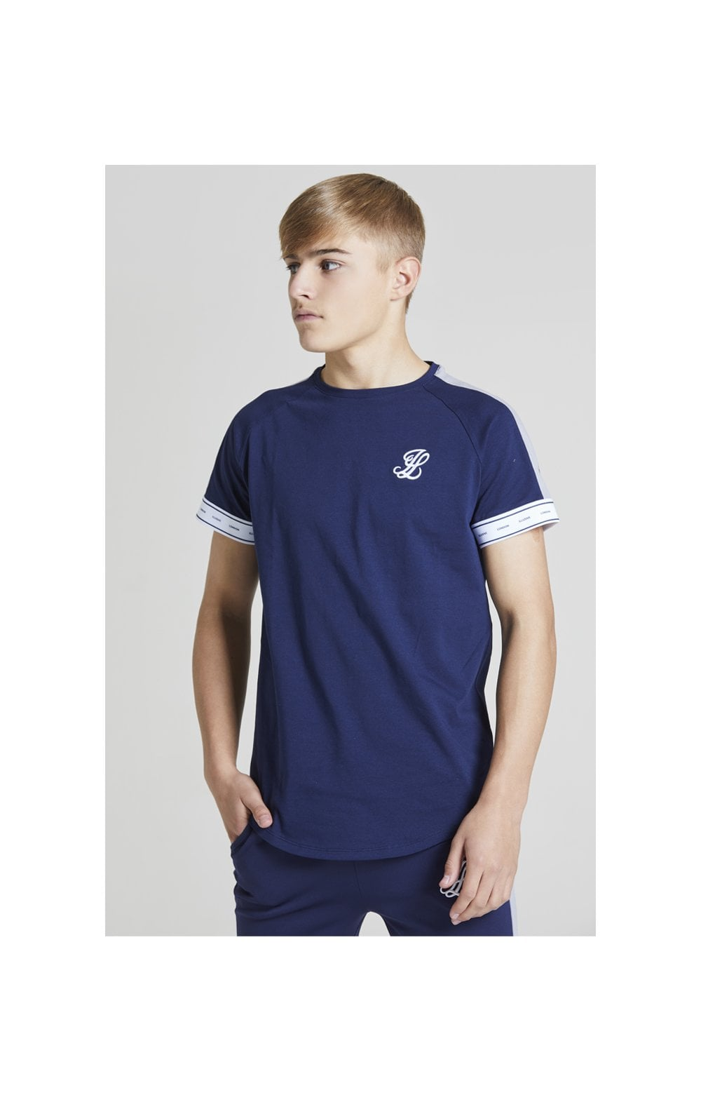 Load image into Gallery viewer, Illusive London Panel Tech Tee - Navy & Grey (1)