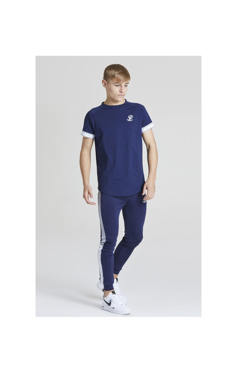 Load image into Gallery viewer, Illusive London Panel Tech Tee - Navy & Grey (3)