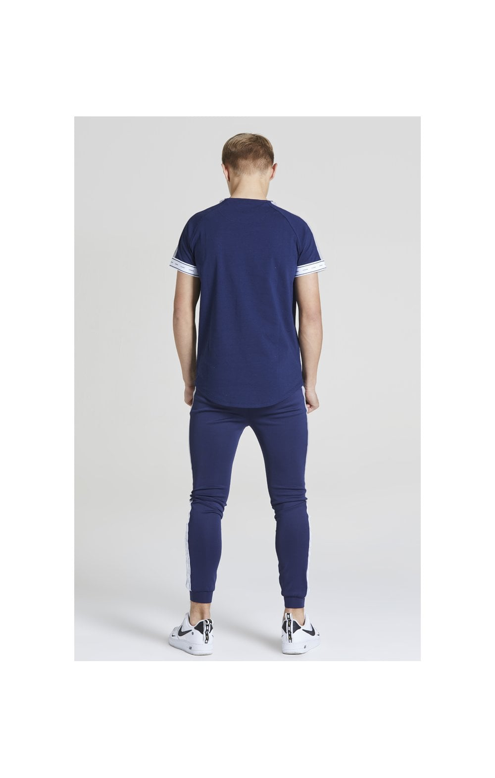 Load image into Gallery viewer, Illusive London Panel Tech Tee - Navy & Grey (4)