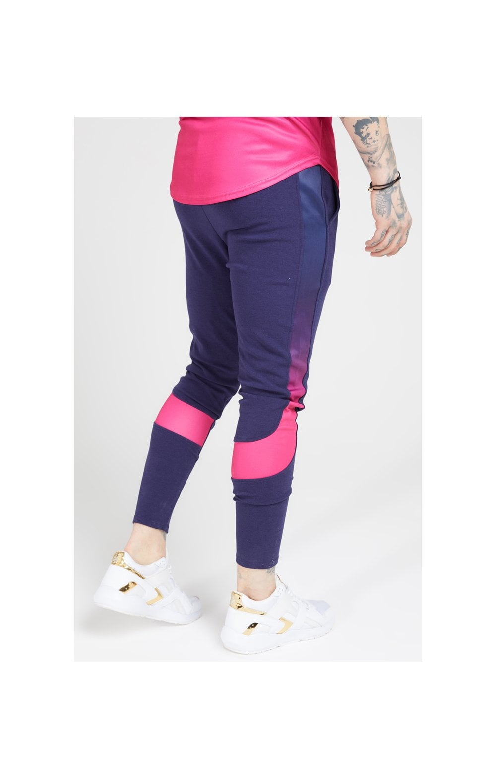 SikSilk Athlete Tech Fade Track Pants – Navy & Neon Fade (3)