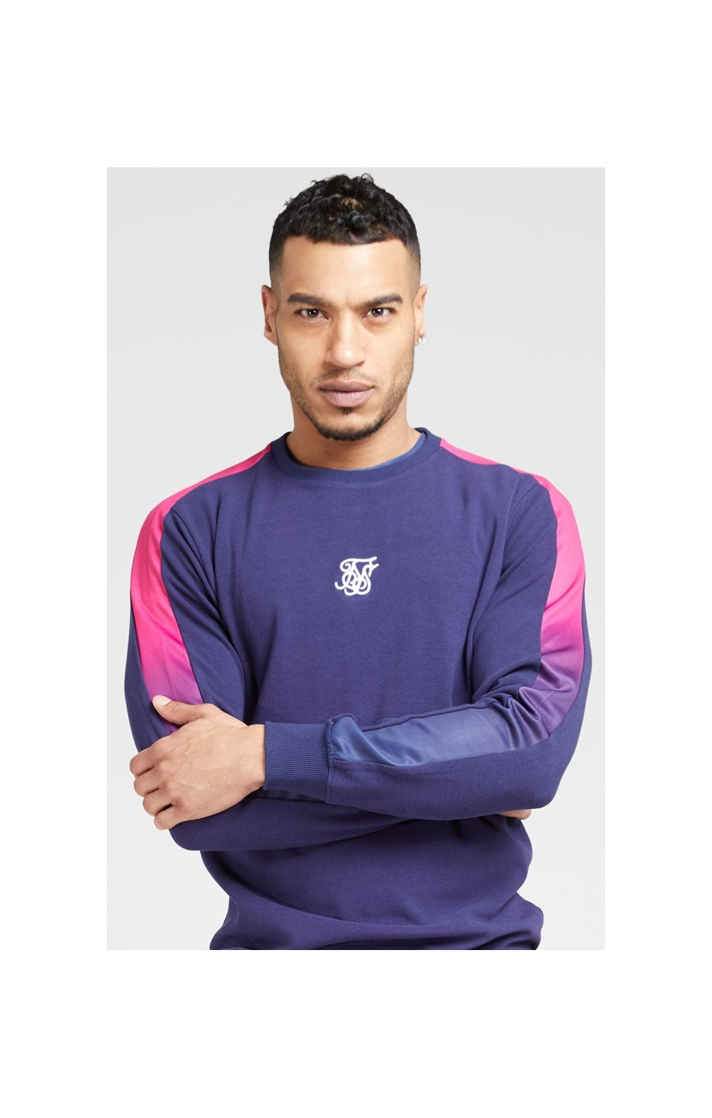 SikSilk Fade Panel Crew Sweat – Navy & Neon Fade