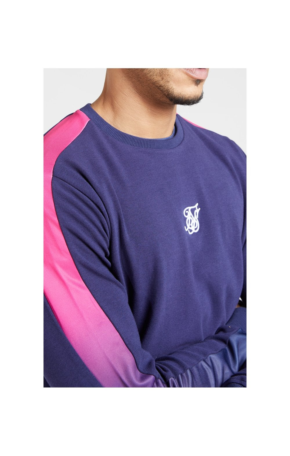 Load image into Gallery viewer, SikSilk Fade Panel Crew Sweat – Navy & Neon Fade (1)