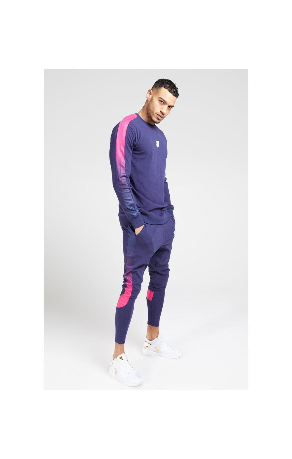 SikSilk Fade Panel Crew Sweat – Navy & Neon Fade (2)