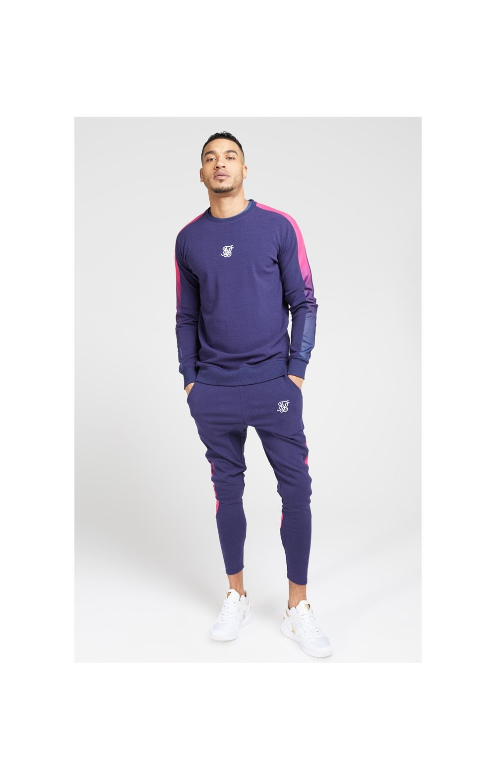 Load image into Gallery viewer, SikSilk Fade Panel Crew Sweat – Navy & Neon Fade (3)