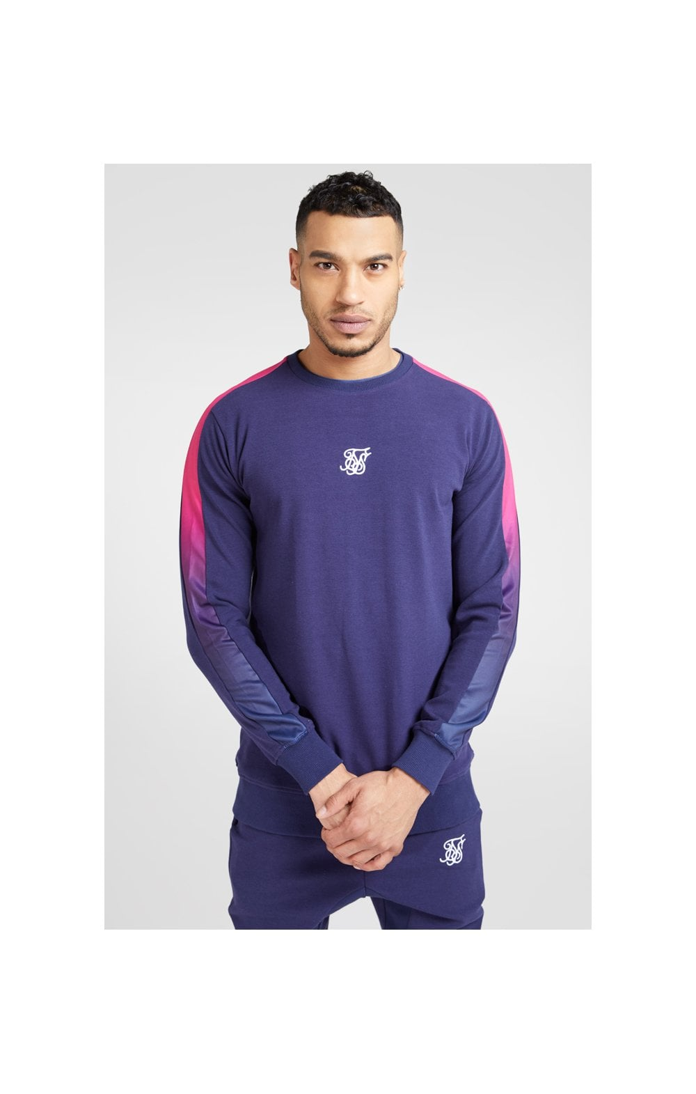 SikSilk Fade Panel Crew Sweat – Navy & Neon Fade (5)