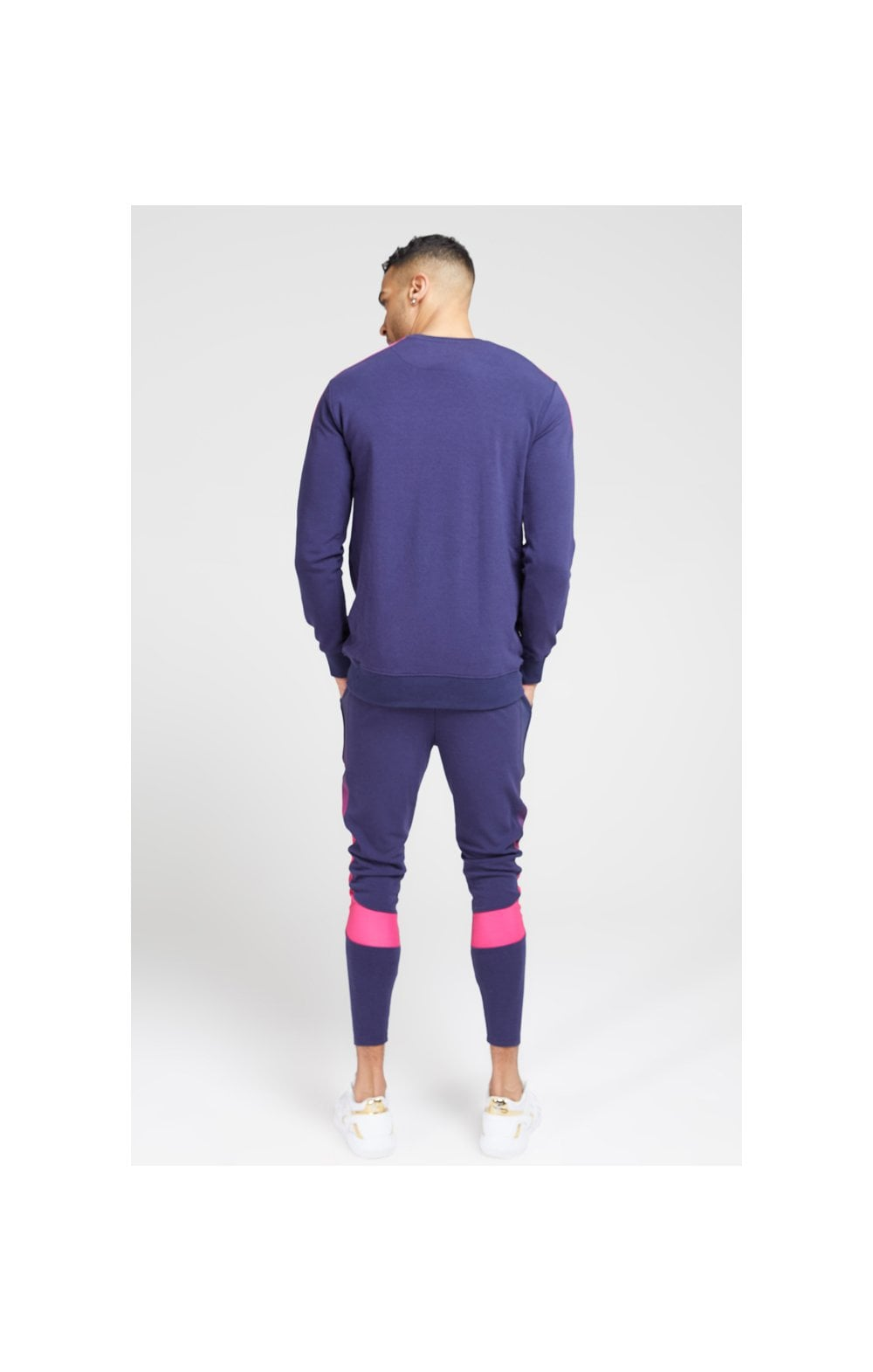 Load image into Gallery viewer, SikSilk Fade Panel Crew Sweat – Navy & Neon Fade (4)