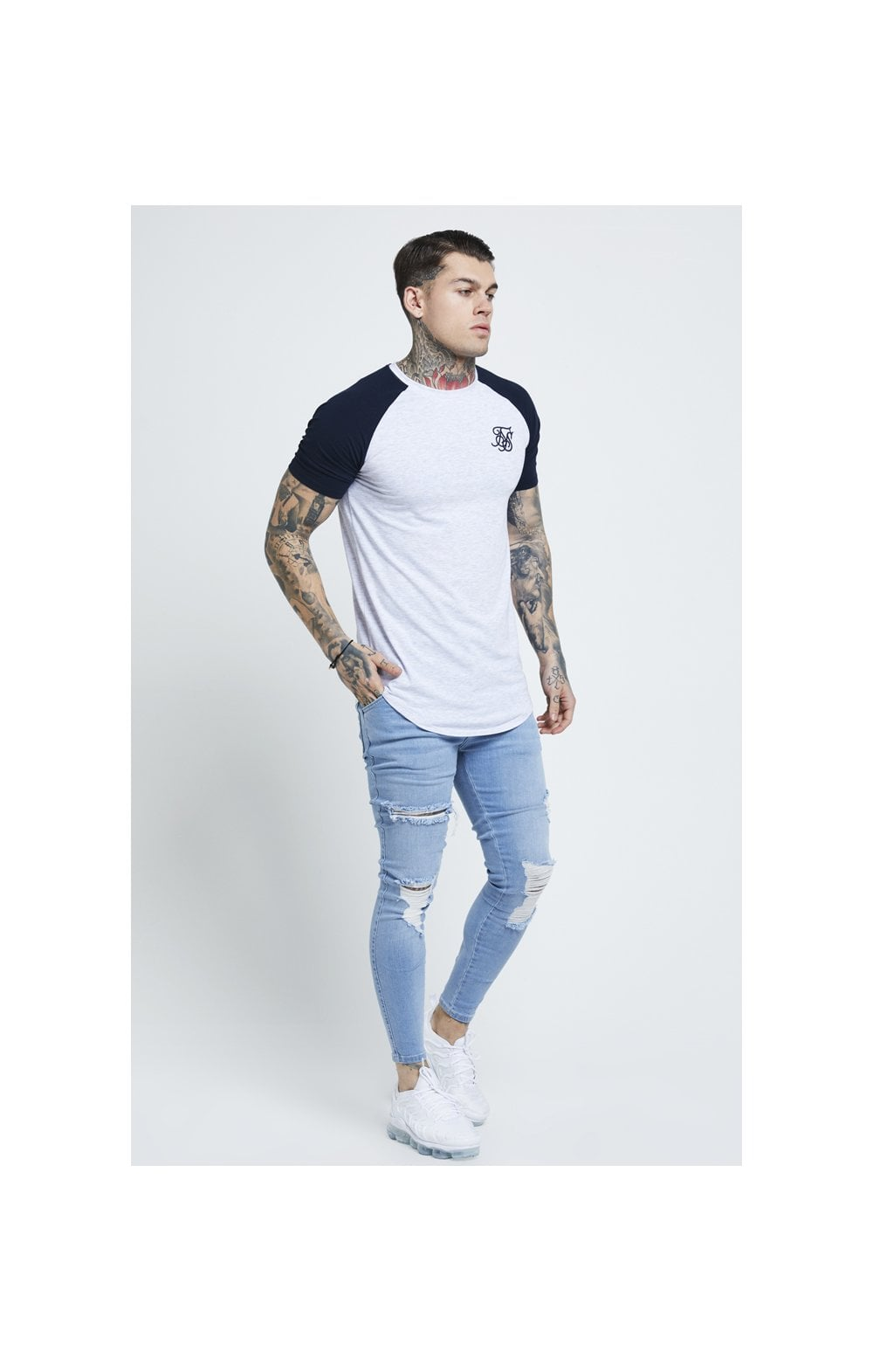 Load image into Gallery viewer, SikSilk Distressed Skinny Jeans – Light Wash (4)