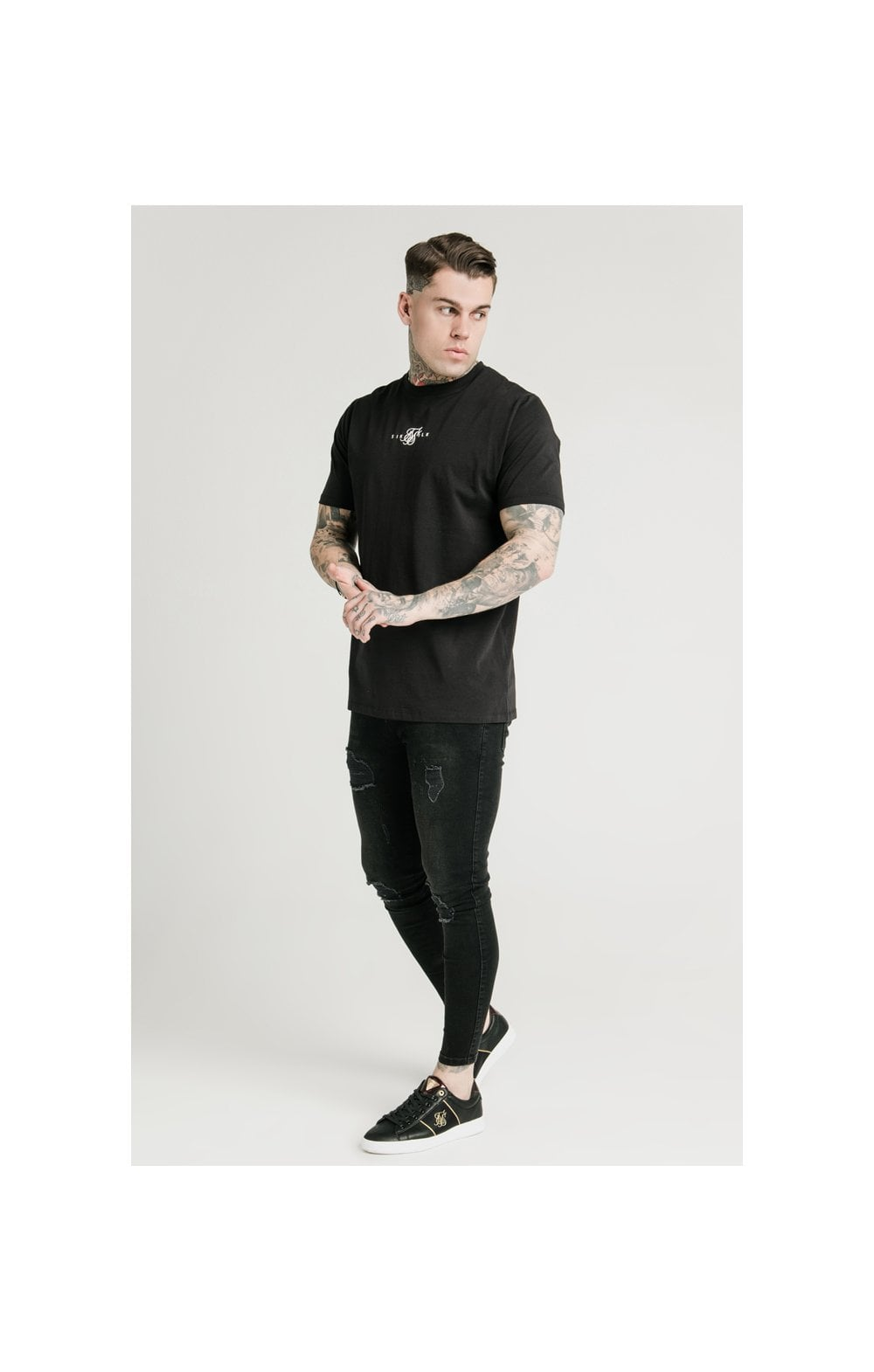 Load image into Gallery viewer, SikSilk Square Hem Standard Tee - Black (3)