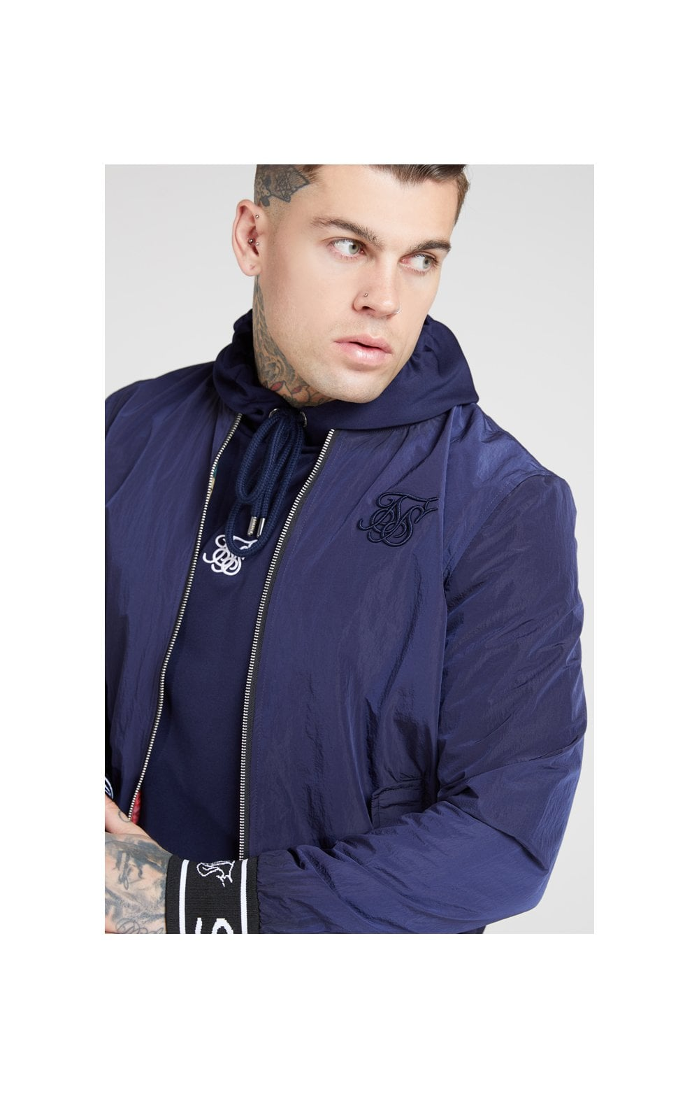 SikSilk Nylon Bomber Jacket – Navy