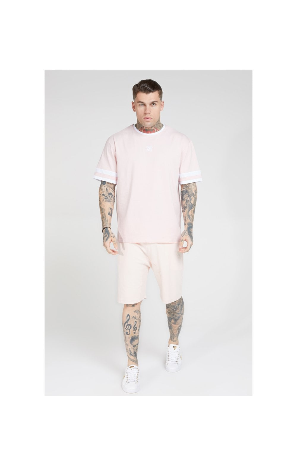 Load image into Gallery viewer, SikSilk S/S Essential Oversized Ringer Tee – Cloudy Pink (2)