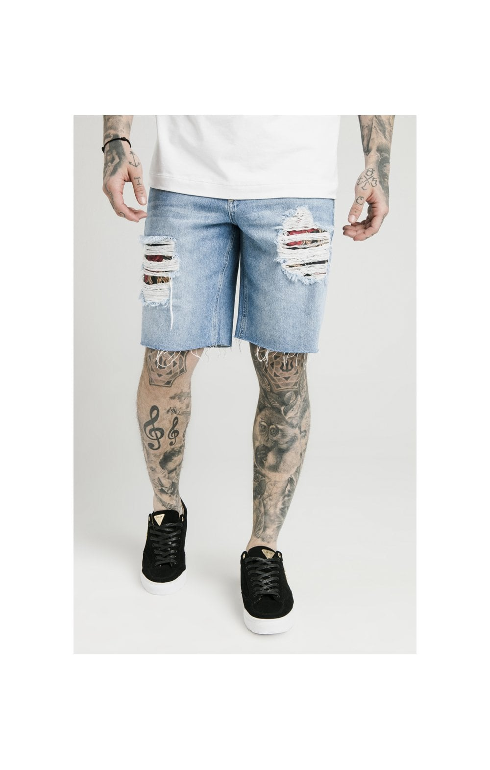 SikSilk Loose Fit Denim Shorts - Stonewash (2)
