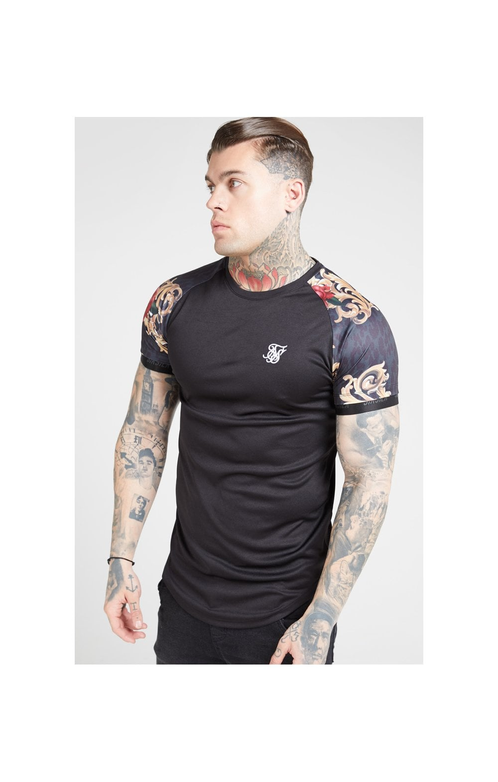 Load image into Gallery viewer, SikSilk S/S Curved Hem Raglan Tech Tee - Jet Black & Floral Animal (1)