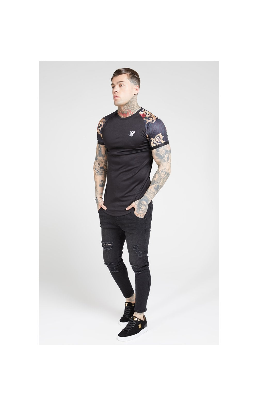 Load image into Gallery viewer, SikSilk S/S Curved Hem Raglan Tech Tee - Jet Black & Floral Animal (2)