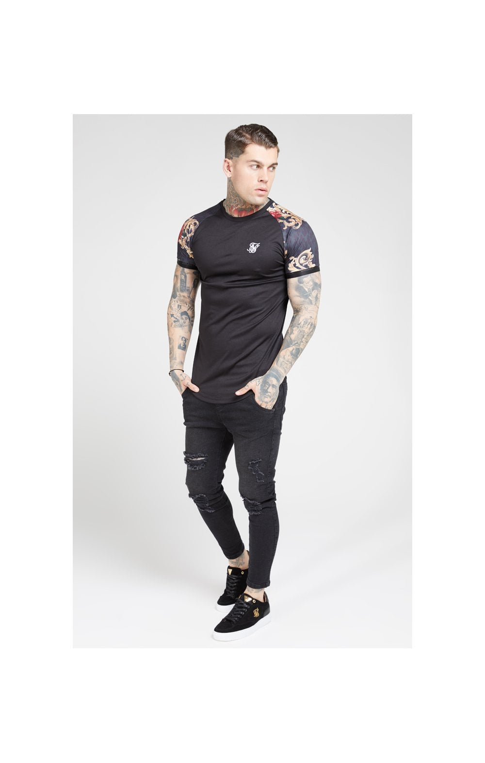 Load image into Gallery viewer, SikSilk S/S Curved Hem Raglan Tech Tee - Jet Black & Floral Animal (3)