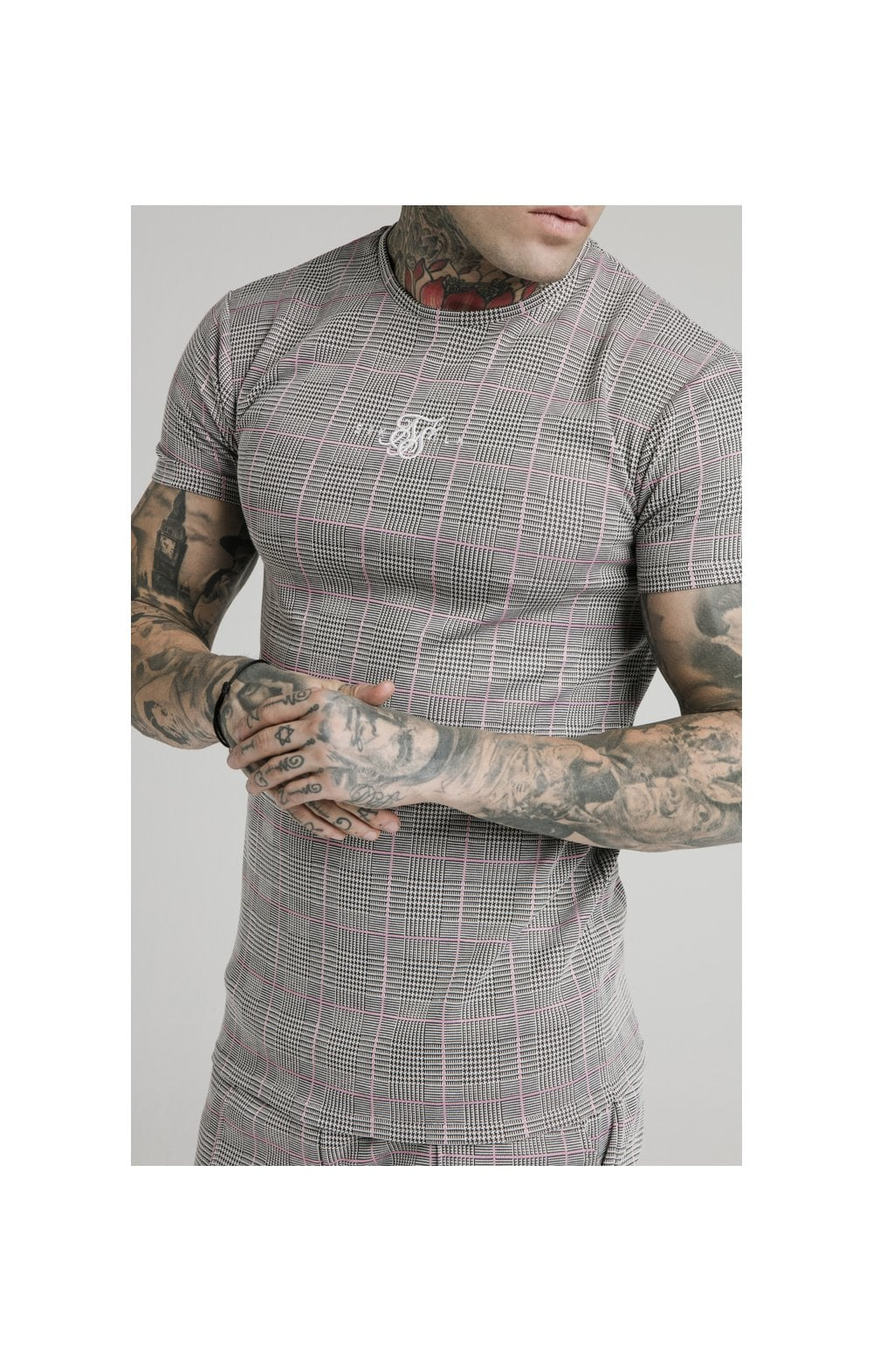 Load image into Gallery viewer, SikSilk S/S Smart Gym Tee – Grey & Pink Check