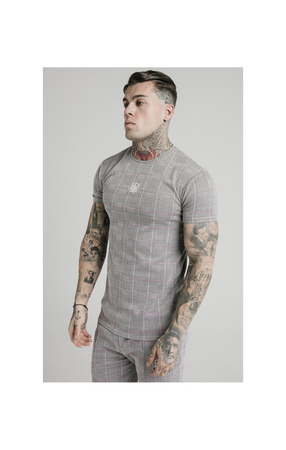 Load image into Gallery viewer, SikSilk S/S Smart Gym Tee – Grey & Pink Check (1)