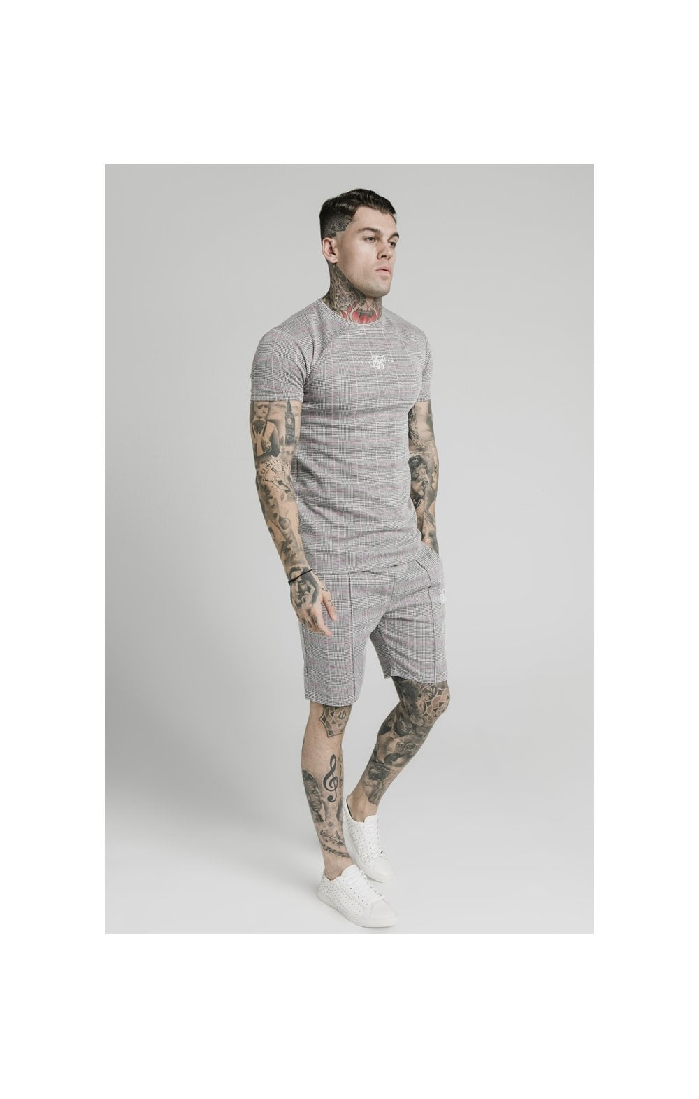 Load image into Gallery viewer, SikSilk S/S Smart Gym Tee – Grey & Pink Check (2)