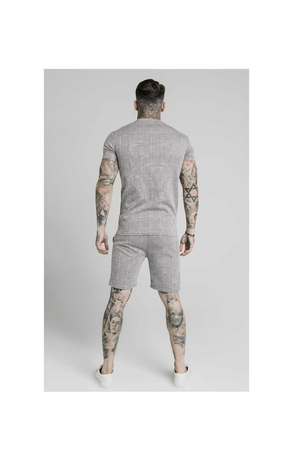 Load image into Gallery viewer, SikSilk S/S Smart Gym Tee – Grey & Pink Check (5)