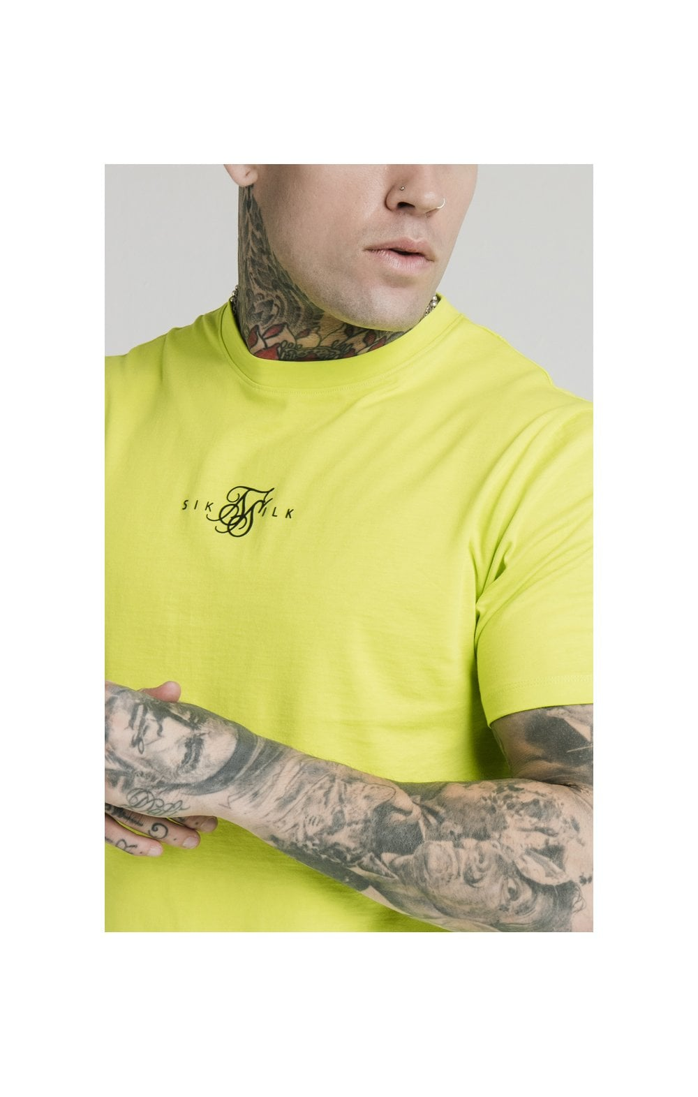 SikSilk S/S Square Hem Tee – Lime (1)