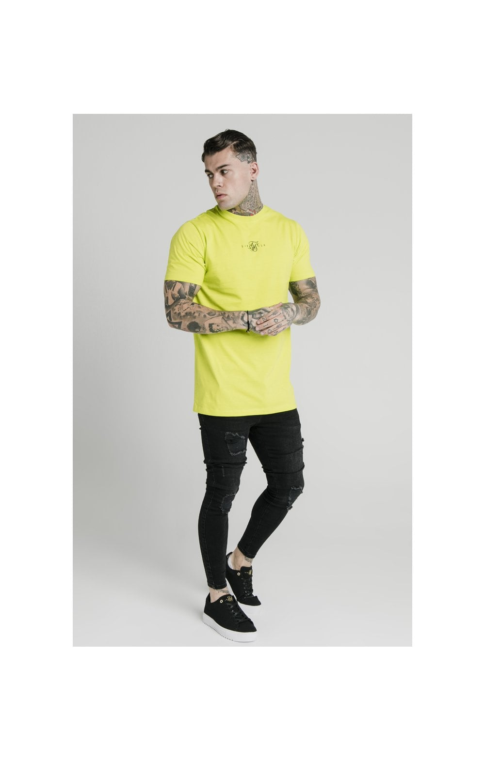SikSilk S/S Square Hem Tee – Lime (3)