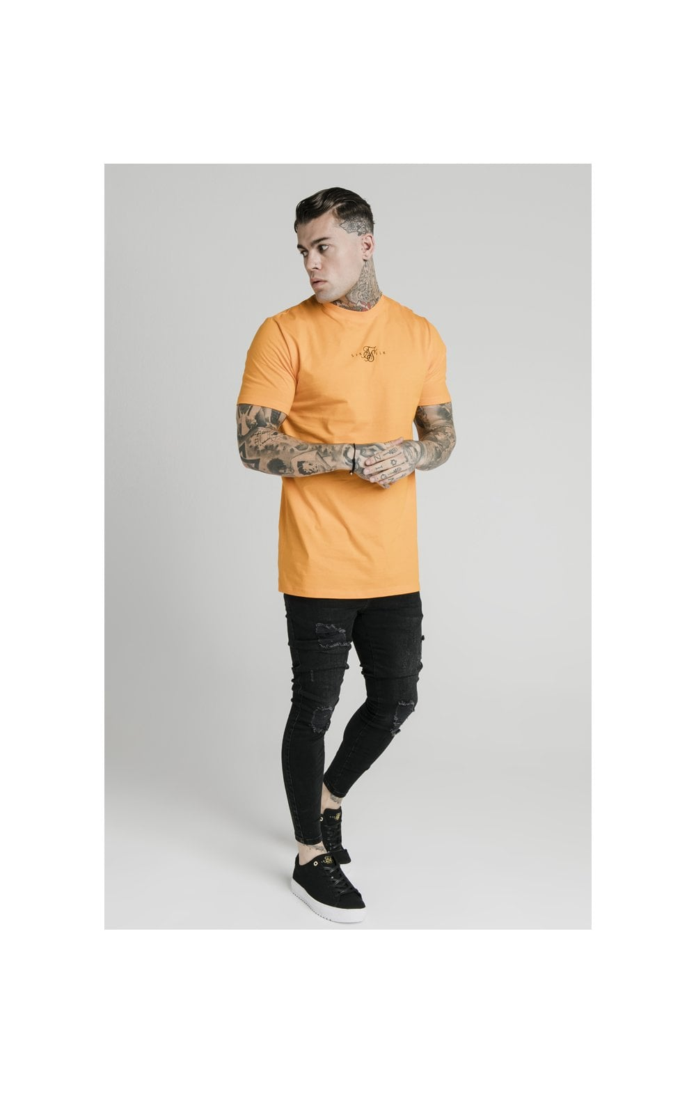 SikSilk S/S Square Hem Tee – Orange (2)