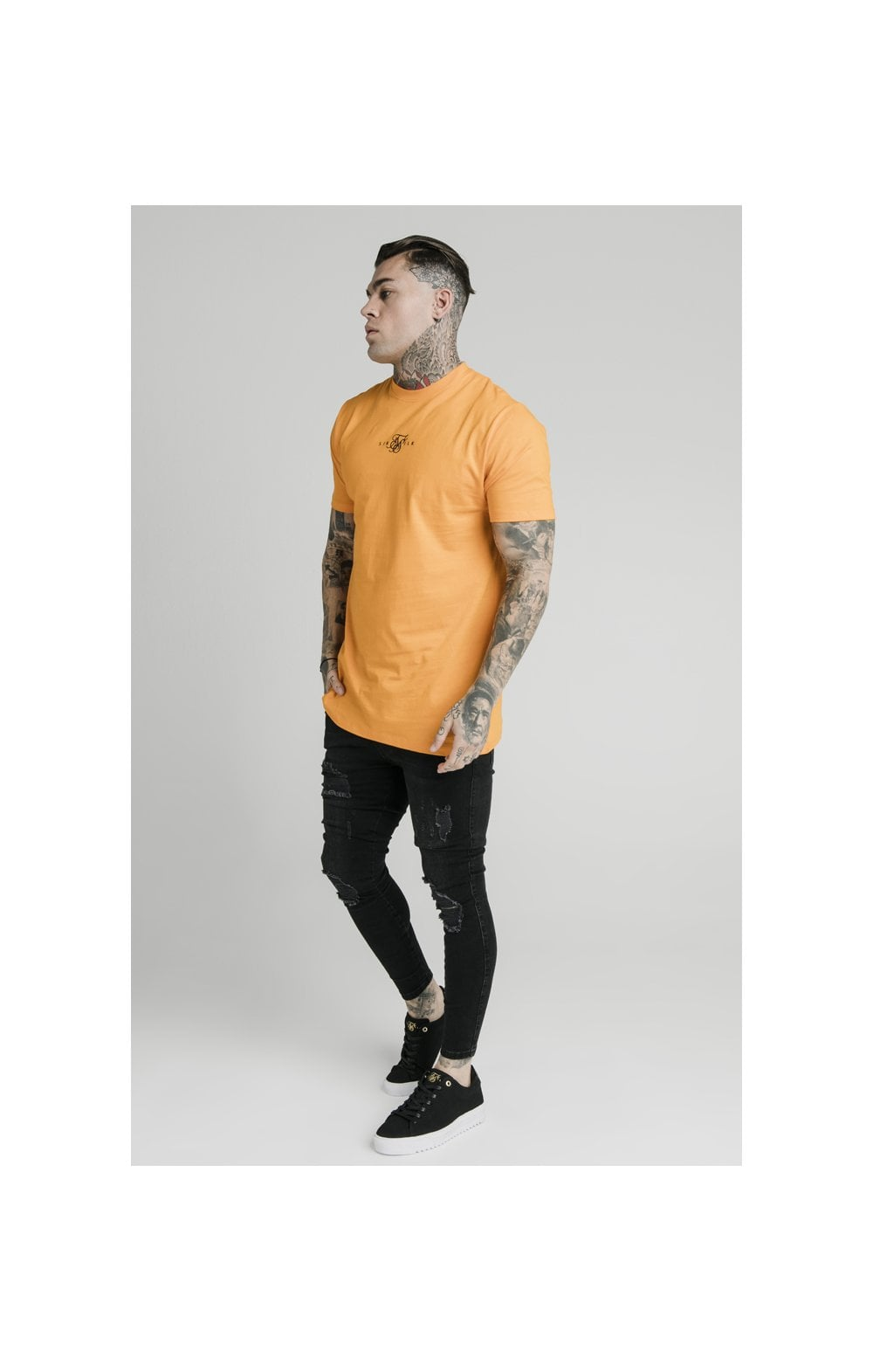 SikSilk S/S Square Hem Tee – Orange (3)