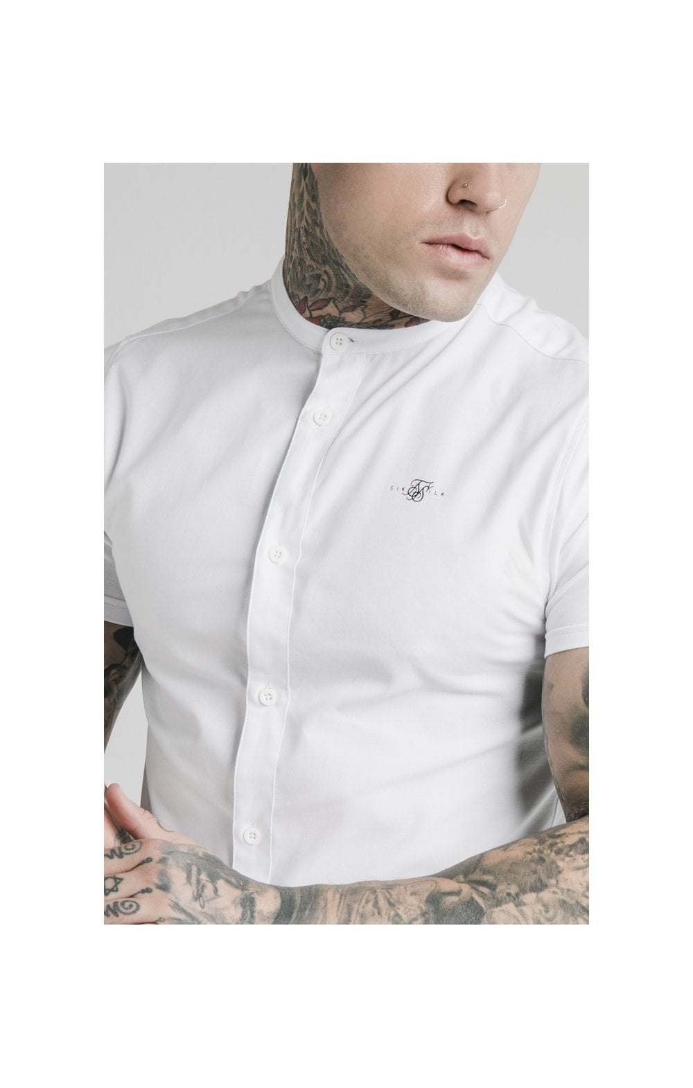 Load image into Gallery viewer, SikSilk S/S Grandad Collar Shirt – White (1)