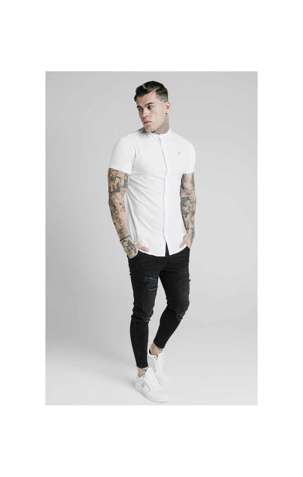 Load image into Gallery viewer, SikSilk S/S Grandad Collar Shirt – White (3)