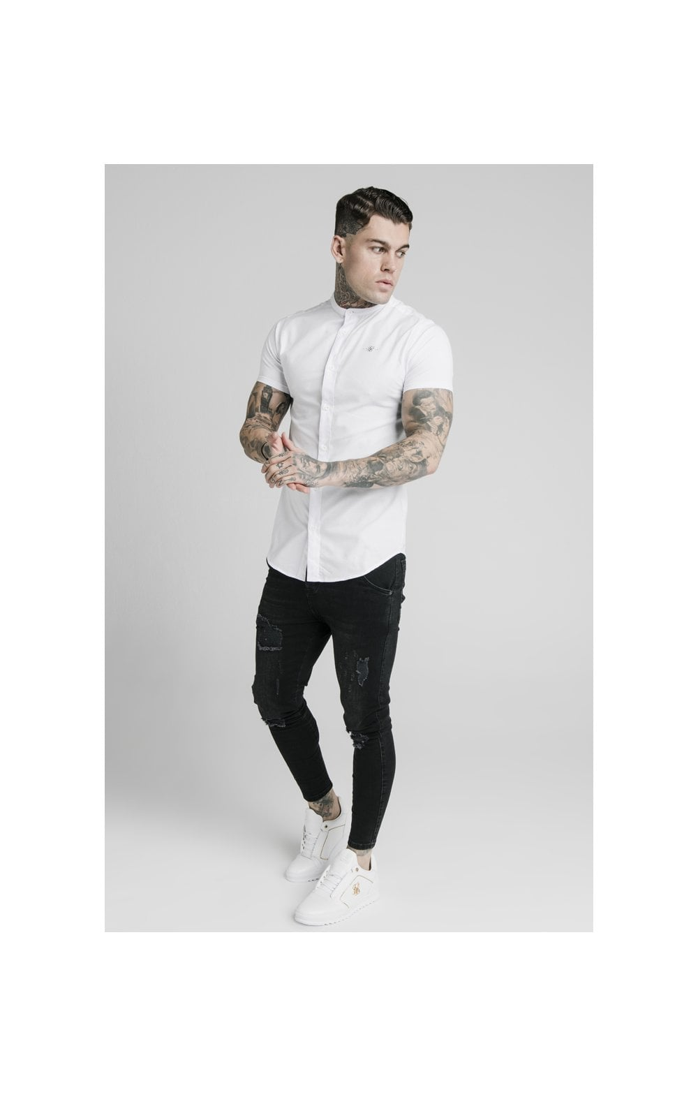Load image into Gallery viewer, SikSilk S/S Grandad Collar Shirt – White (4)