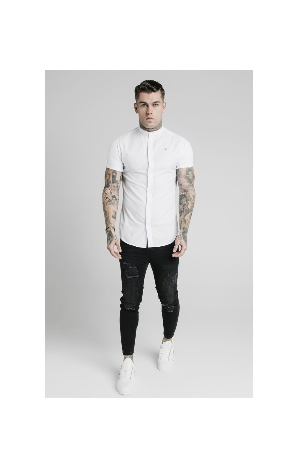 Load image into Gallery viewer, SikSilk S/S Grandad Collar Shirt – White (2)