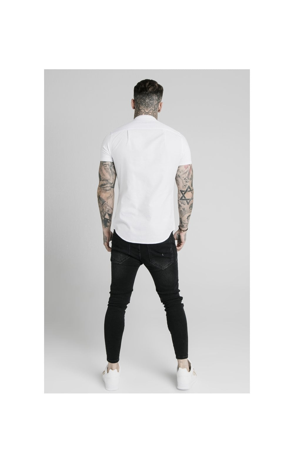 Load image into Gallery viewer, SikSilk S/S Grandad Collar Shirt – White (5)