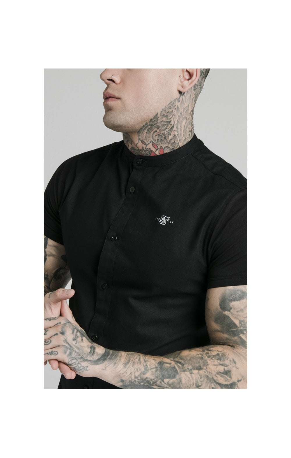 Load image into Gallery viewer, SikSilk S/S Grandad Collar Shirt – Black (1)