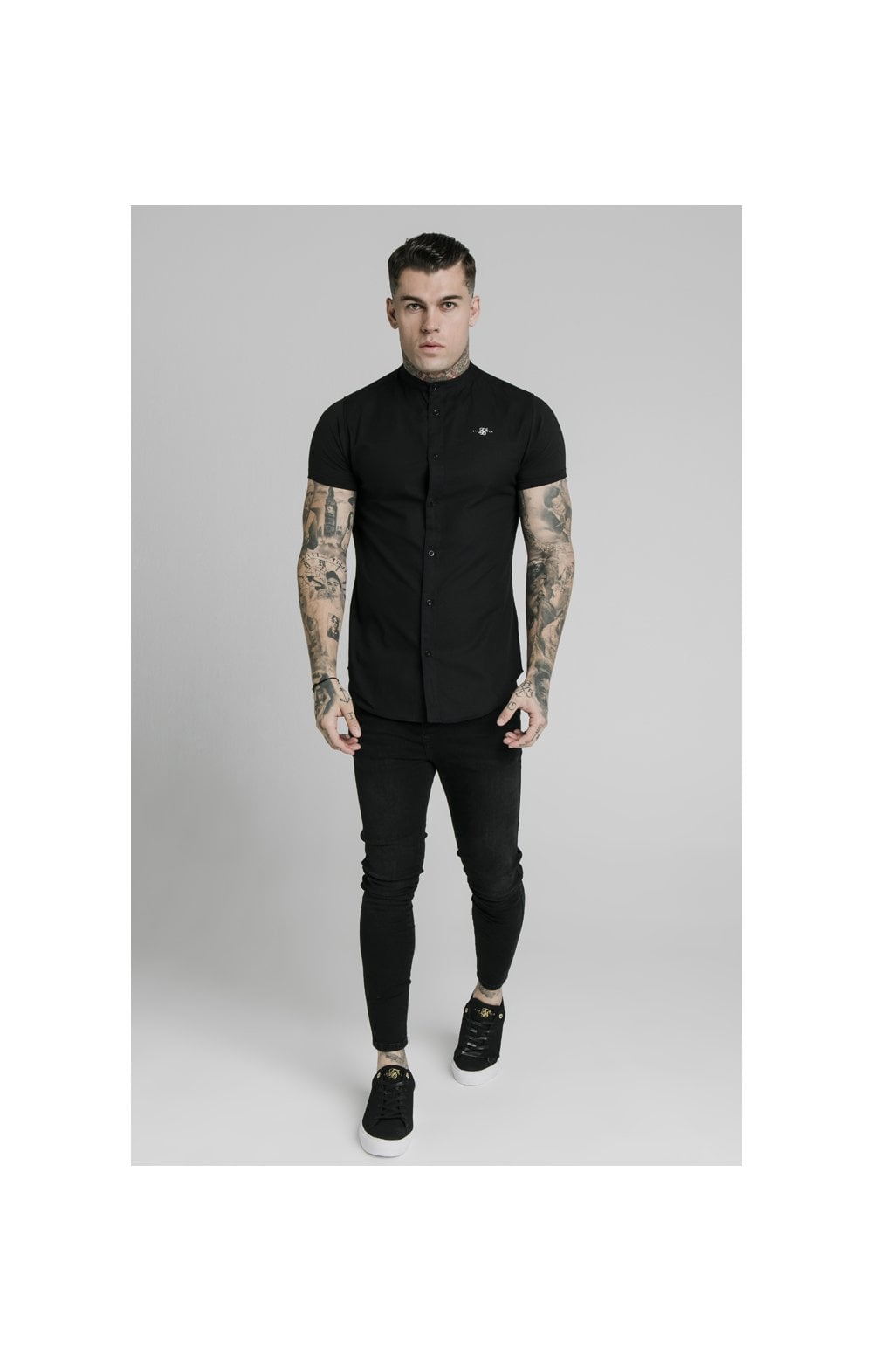 SikSilk S/S Grandad Collar Shirt – Black (3)