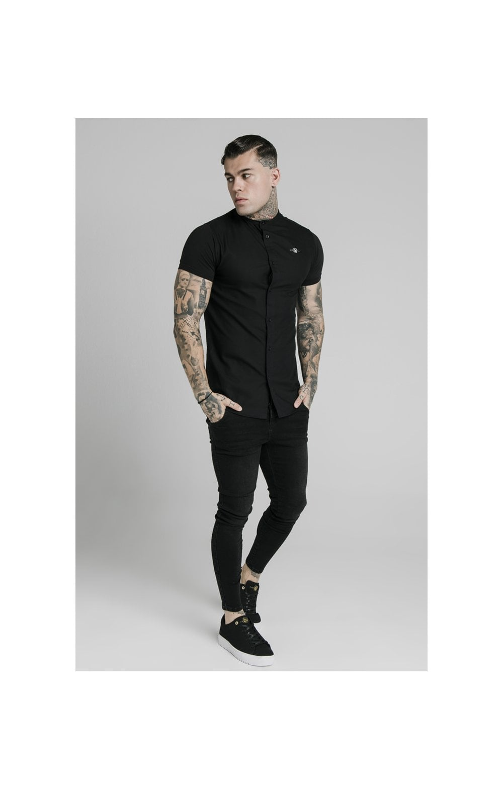 Load image into Gallery viewer, SikSilk S/S Grandad Collar Shirt – Black (2)