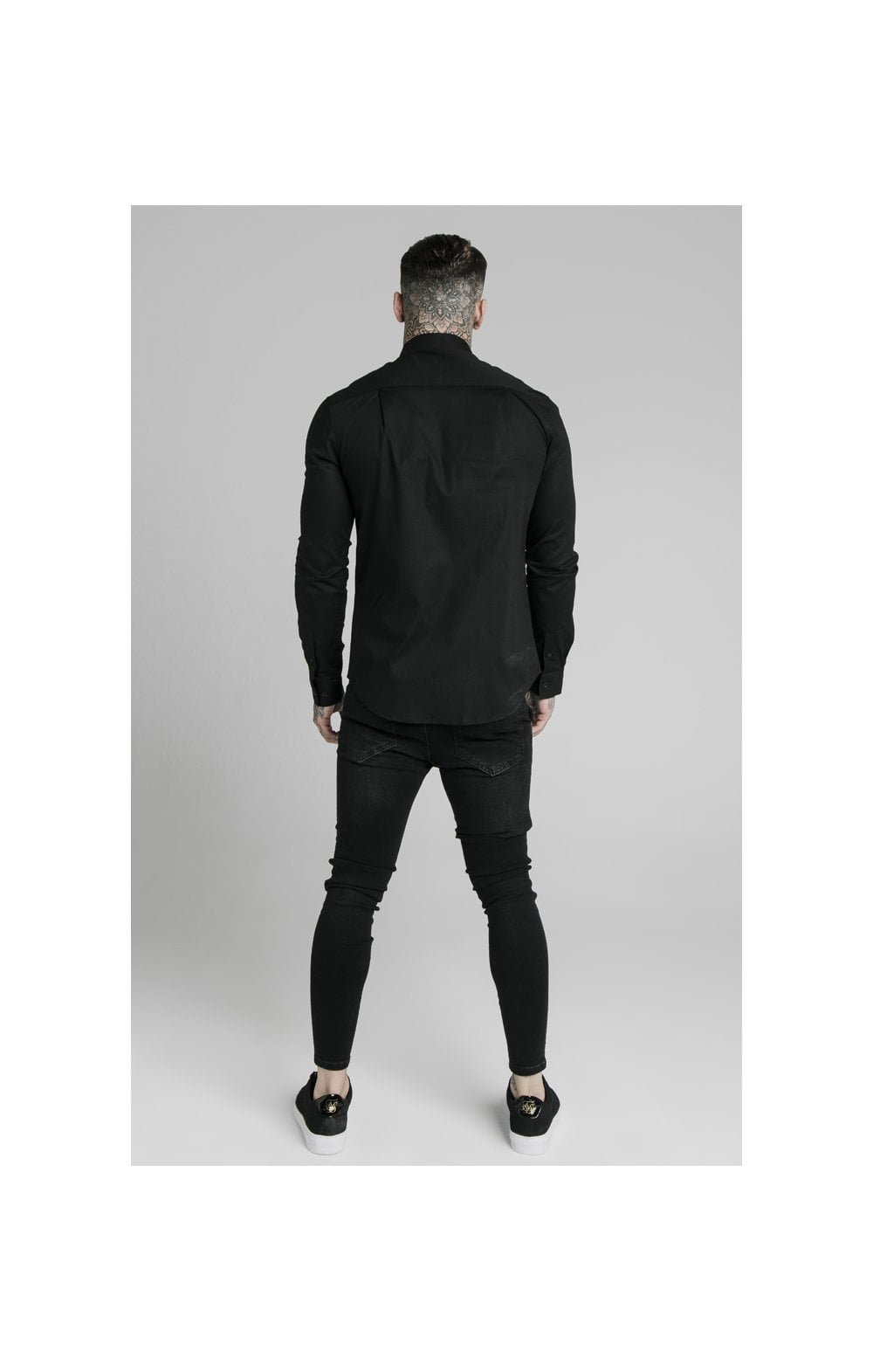 SikSilk L/S Standard Collar Shirt - Black (4)