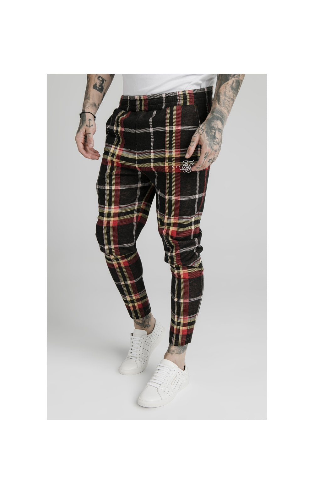 SikSilk Smart Cuff Pants - Mutil Grain Check