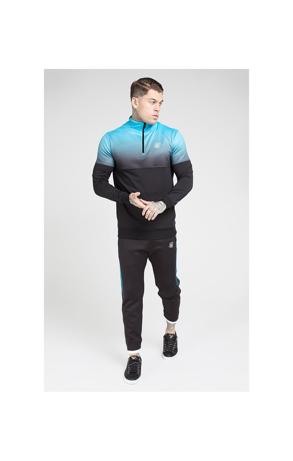 SikSilk Quarter Zip Hybrid Poly Fade Track Top - Black & Teal (2)