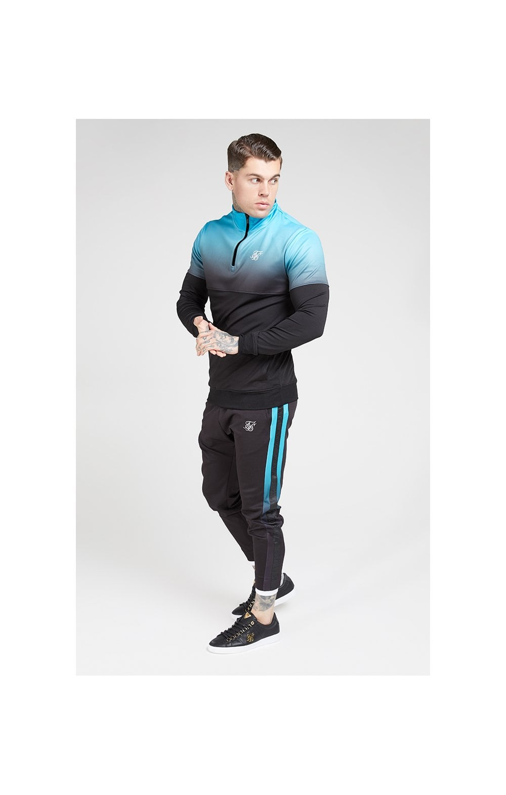 SikSilk Quarter Zip Hybrid Poly Fade Track Top - Black & Teal (3)