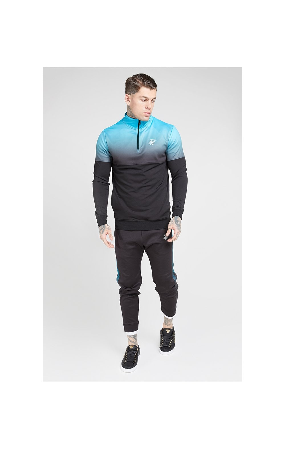 SikSilk Quarter Zip Hybrid Poly Fade Track Top - Black & Teal (4)