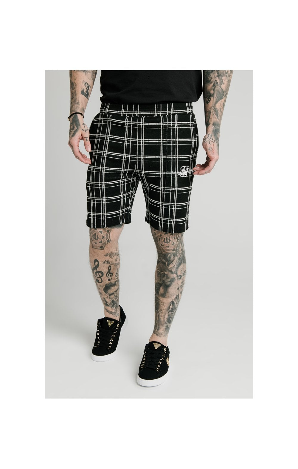 SikSilk Pleated Smart Shorts – Black & White