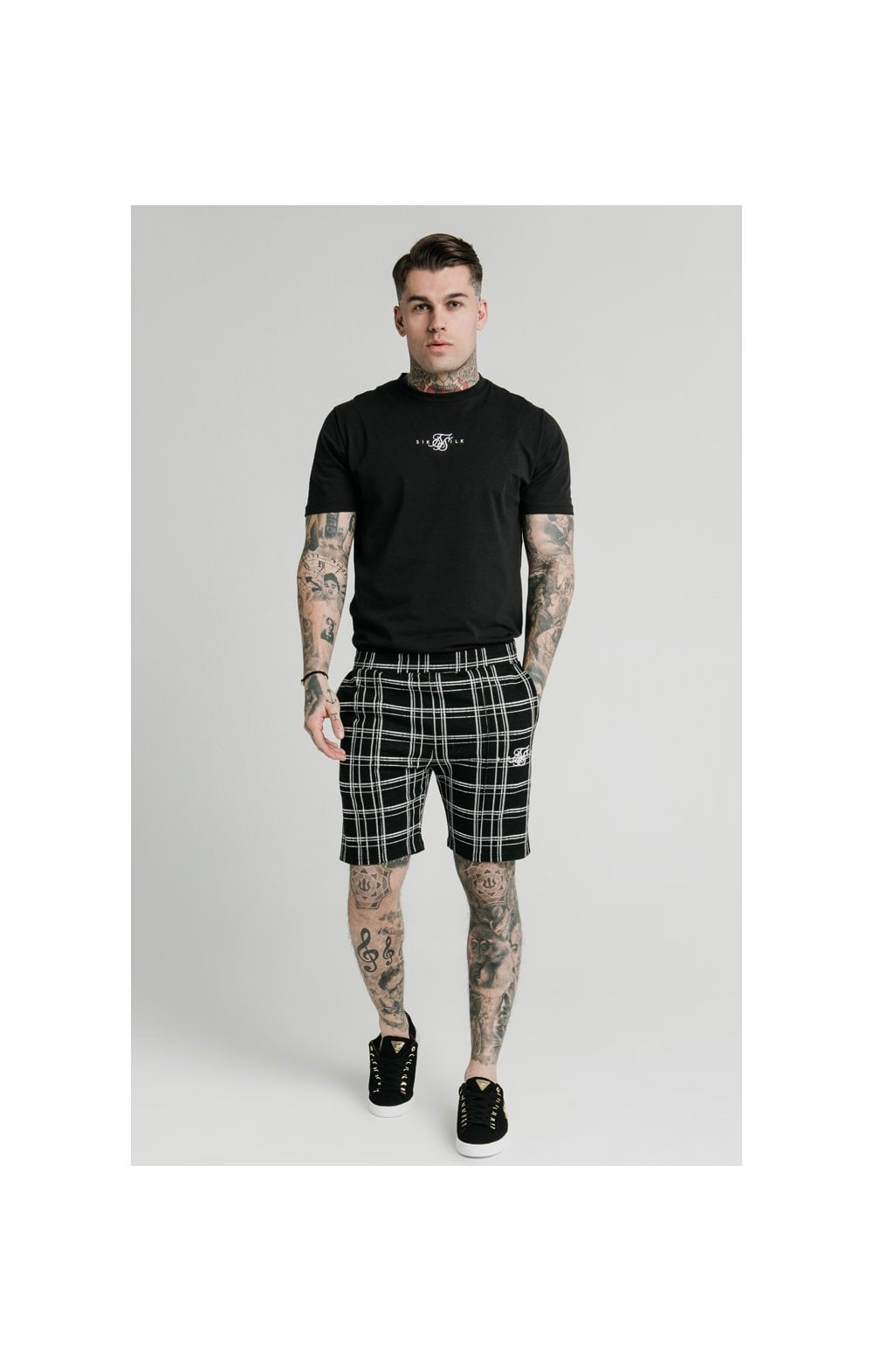 SikSilk Pleated Smart Shorts – Black & White (5)