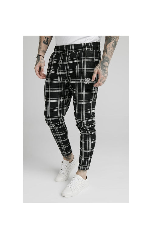 SikSilk Smart Cuff Pants - Black & White Check