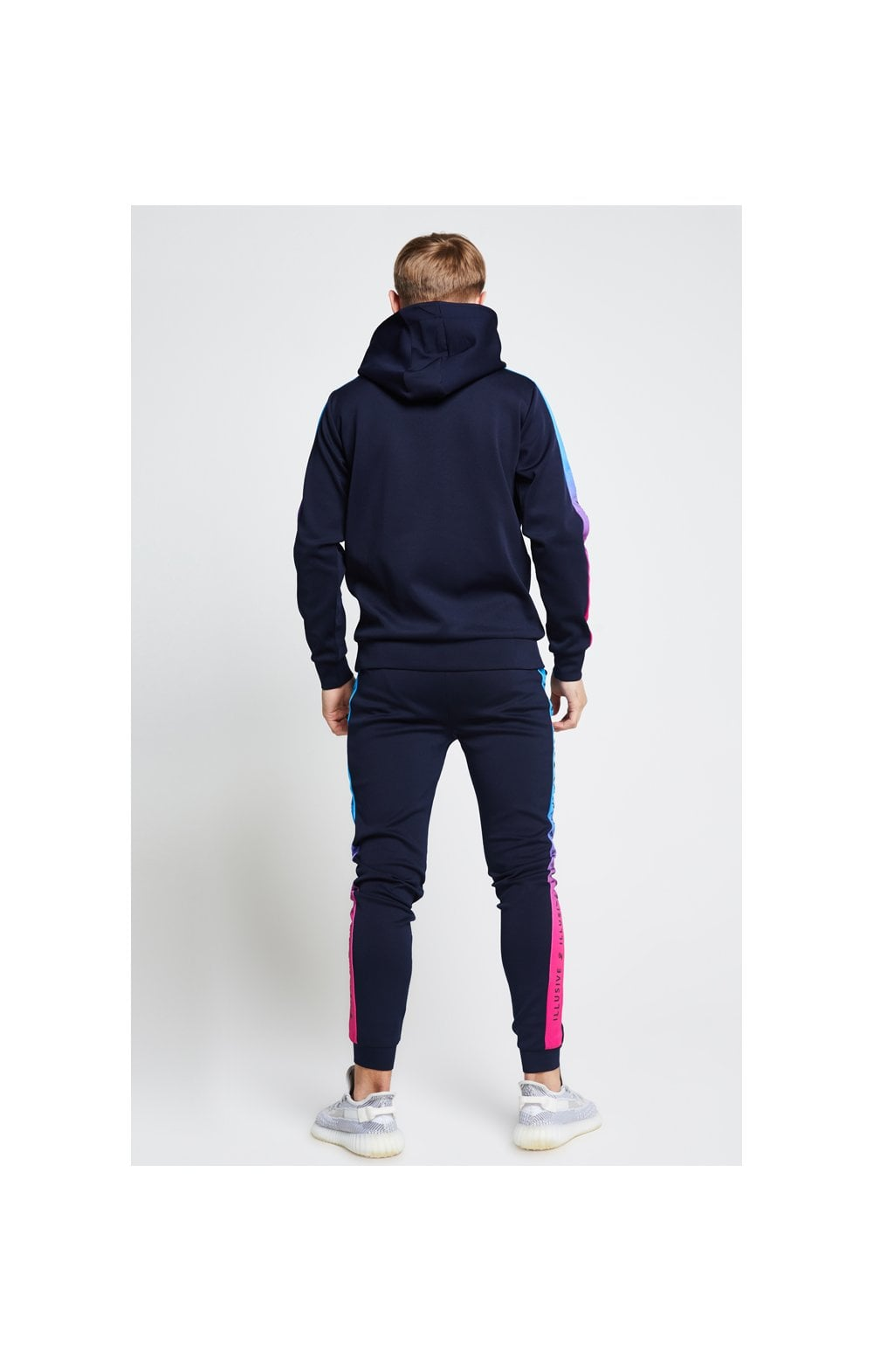 Illusive London Fade Panel Overhead Hoodie - Navy Blue & Pink (4)