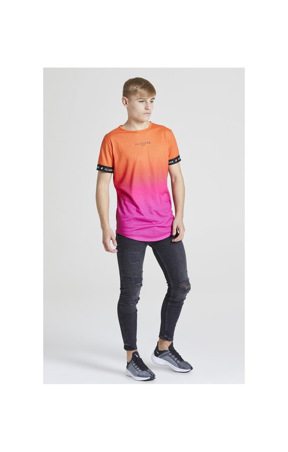 Load image into Gallery viewer, Illusive London Fade Tech Tee - Orange & Pink (2)