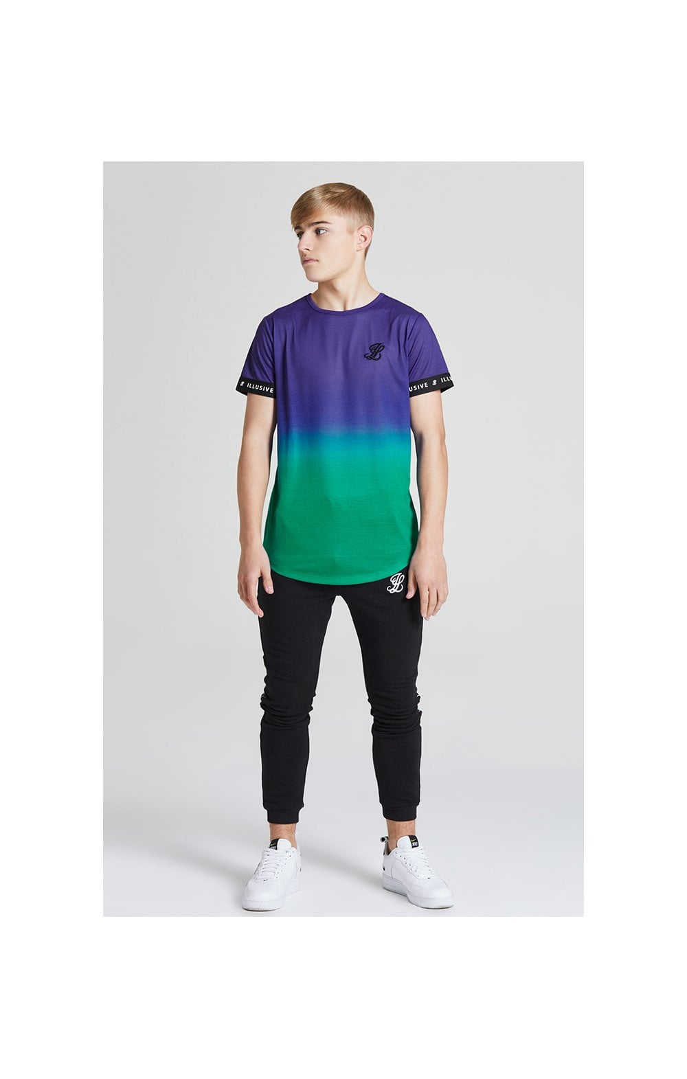 Load image into Gallery viewer, Illusive London Fade Tech Tee - Purple & Teal Green (1)