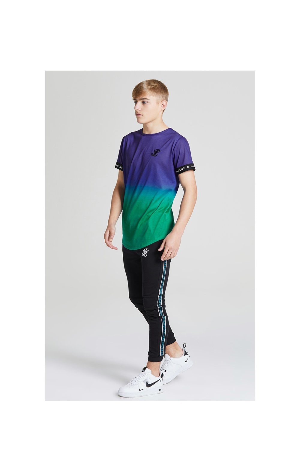 Load image into Gallery viewer, Illusive London Fade Tech Tee - Purple & Teal Green (2)