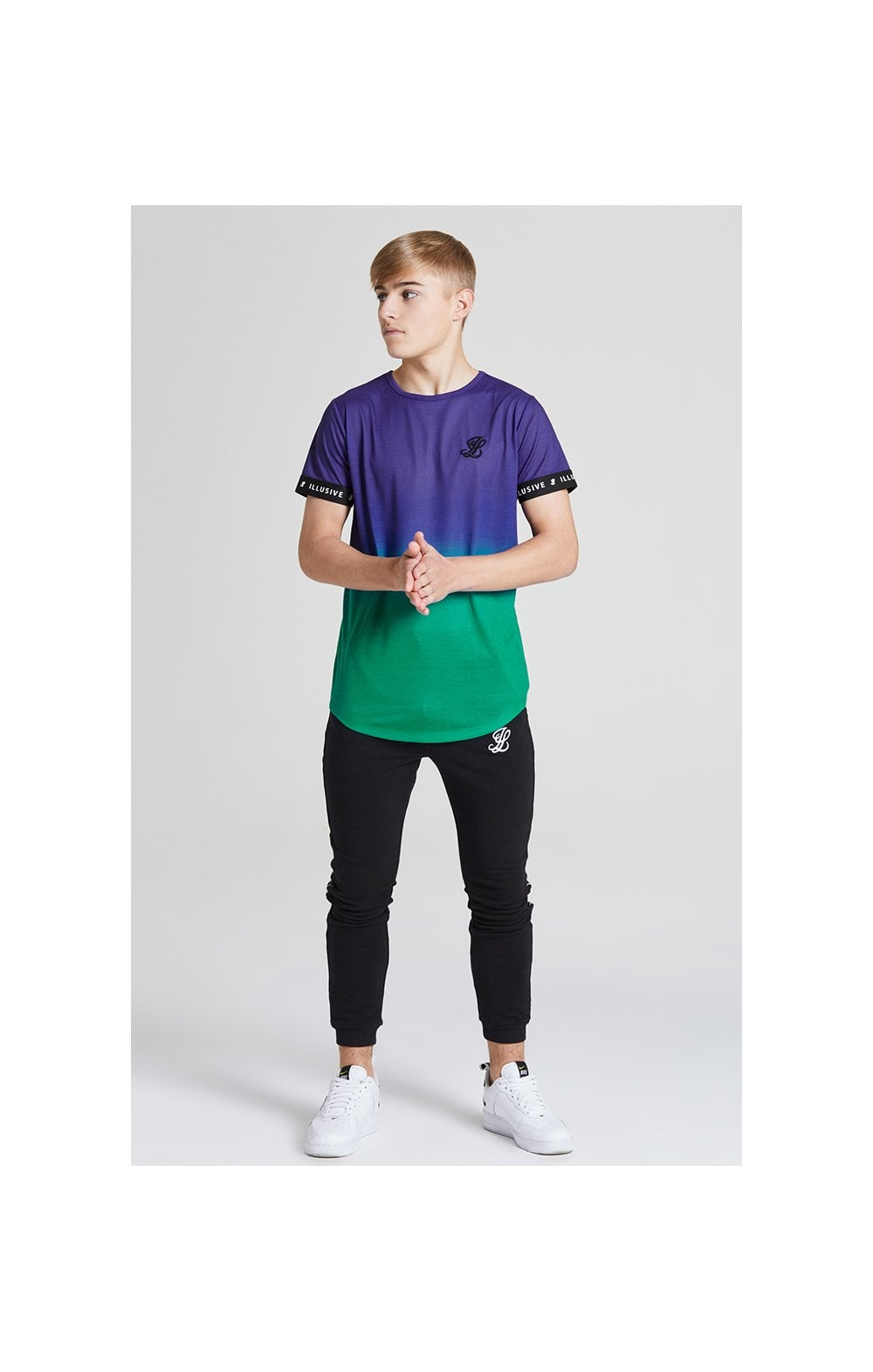 Load image into Gallery viewer, Illusive London Fade Tech Tee - Purple & Teal Green (3)