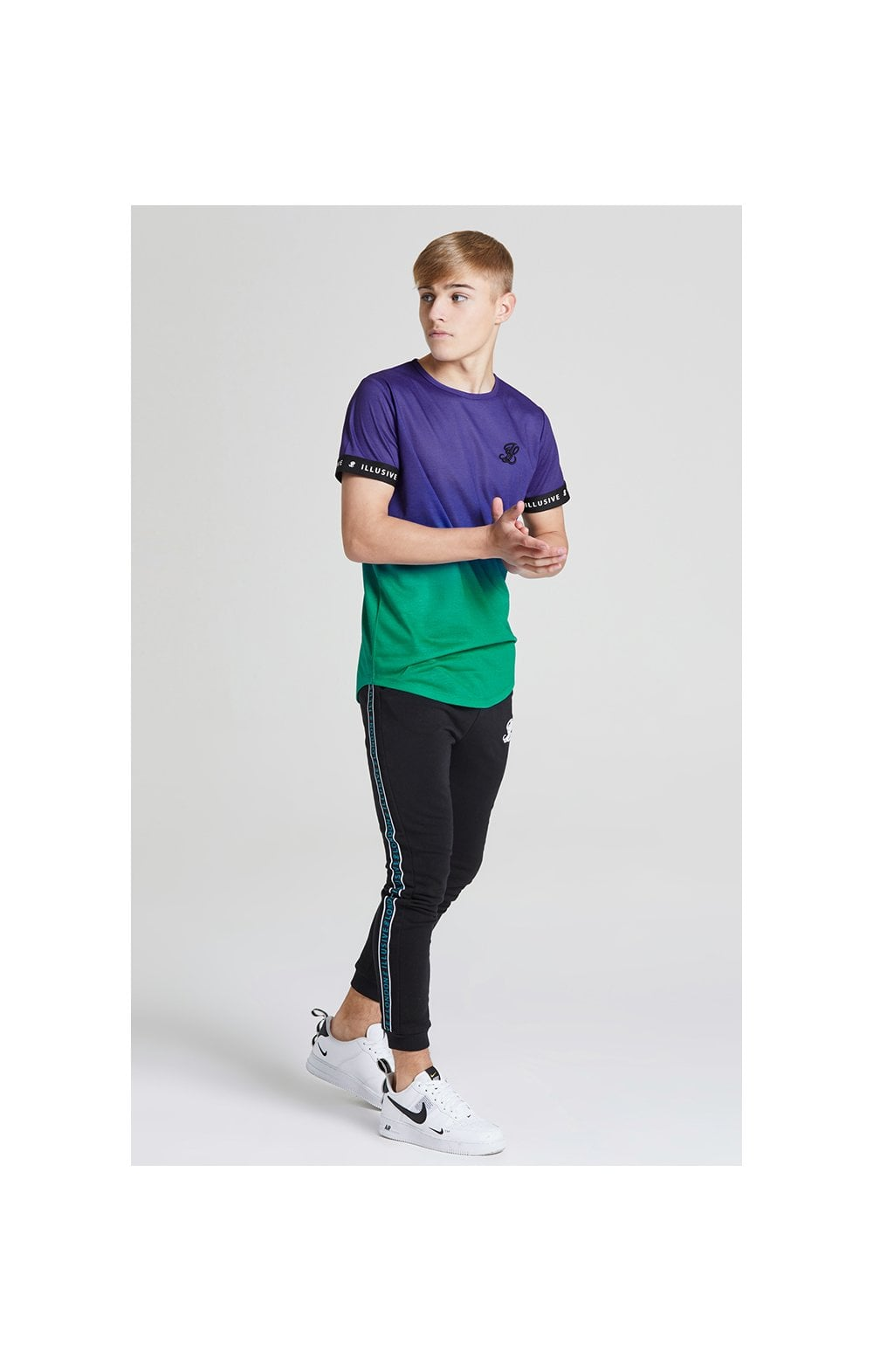 Load image into Gallery viewer, Illusive London Fade Tech Tee - Purple & Teal Green (4)