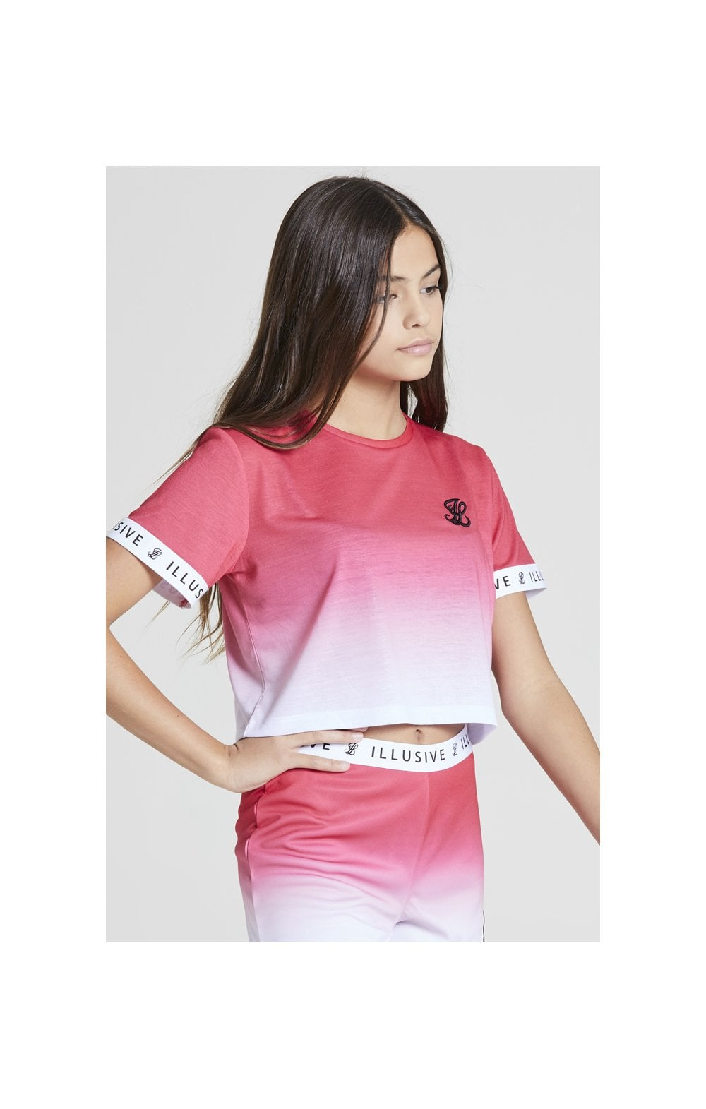 Illusive London Pink Fade Croped Tee - Pink & White (2)