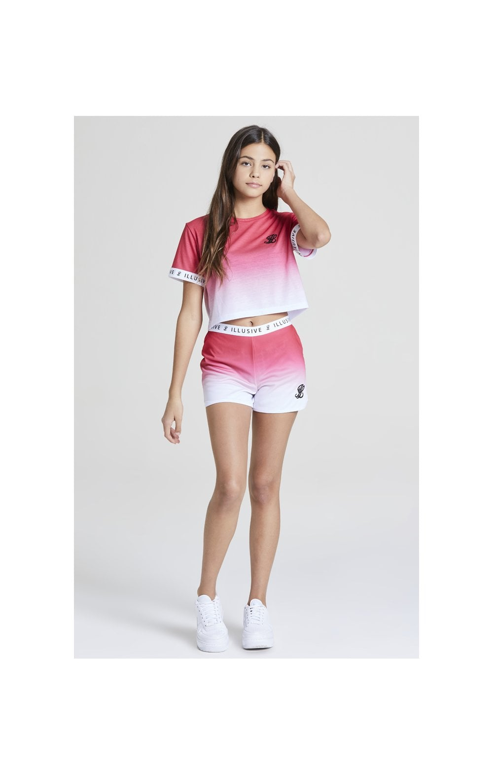 Illusive London Pink Fade Croped Tee - Pink & White (3)